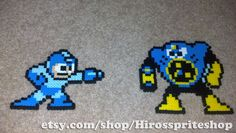 Megaman and Airman from Megaman 2, perler beads.