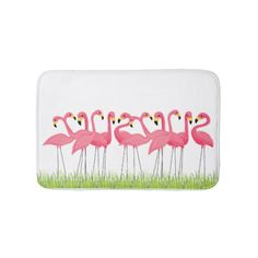 Pink Flamingo Illustration Bathroom Mat @zazzle #junkydotcom June 29 2016
