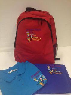 Kids rucksacks, polo shirts and sweatshirts with embroidered badge.