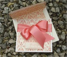 Coral damask wedding invites - Urbancouturepaperweddingstuff
