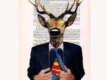 Deer Superman -Original Mischtechnik Kunstwerk