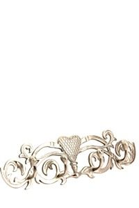 This metal scroll hook is a decorative addition to hang towel in bathroom room.