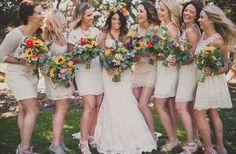 Bohemian wedding/ mix matched bridal party dresses  sevenstemsdesign.com