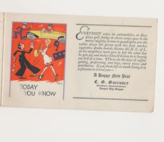"""Christmas card """"Christmas Yesterday and Today"""" John Held art 1920's by mudintheUSA on Etsy"""