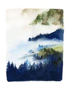 La main aquarelle d'archives Art Print - paysage de forêt en Indigo et vert
