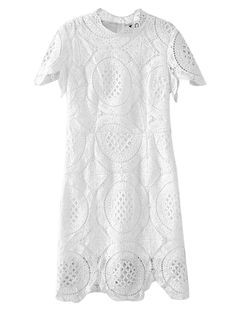 Buy White High Neck Short Sleeve Crochet Lace Bodycon Dress from abaday.com, FREE shipping Worldwide - Fashion Clothing, Latest Street Fashion At Abaday.com