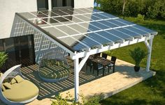 Go Green 4 Health. Good Tips On How To Take Advantage Of Solar Energy. Solar power has been around for a while and the popularity of this energy source increases with each year. Solar energy is great for commercial and residen Patio Roof, Pergola Patio, Pergola Kits, Pergola Carport, Modern Pergola, Carport Ideas, Carport Designs, Carport Garage, Small Pergola