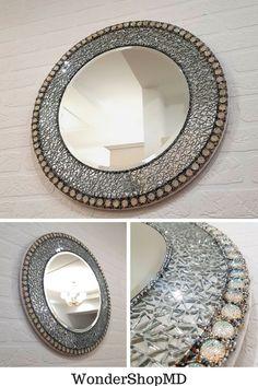 Round mosaic mirror Decorative mirror with rhinestones/ Modern mirror wall/ In stock Small Wall Mirrors, Round Wall Mirror, Mirror Art, Diy Mirror, Glamour Decor, Mirror Crafts, Handmade Mirrors, Mirror Mosaic, Sunburst Mirror