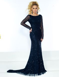 319a9445158 Jasz Couture 1534 Navy High Neck Long Sleeve Open Back Prom Dress