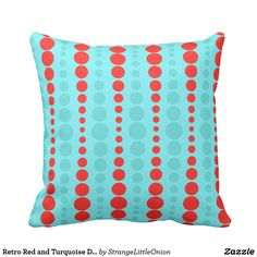 Retro Red and Turquoise Dots Outdoor Pillow