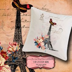Iron on Transfer Images Eiffel Tower No5 to print and iron on transfer for tote bags t-shirts pillows fabric and paper