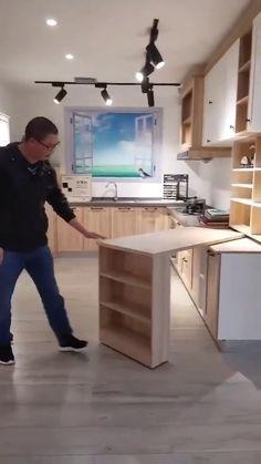 Kitchen Room Design, Home Room Design, Modern Kitchen Design, Interior Design Kitchen, House Design, Cuisines Design, Furniture Design, Diy Furniture, Space Saving Furniture