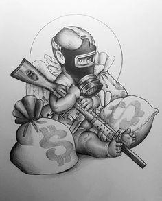 Half Sleeve Tattoos Drawings, Forearm Sleeve Tattoos, Best Sleeve Tattoos, Tattoo Sleeve Designs, Tattoo Designs Men, Leg Tattoo Men, Chicano Art Tattoos, Gangster Tattoos, Badass Tattoos