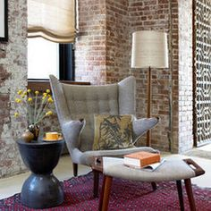 bold geometry softened by warm grey upholstery