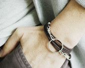 #Brown #Leather #Wrap Bracelet with #Sterling Silver Wire #wrapped Circle #Handmade #Jewelry by Bayside Wire Designs