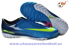 the latest 43681 af294 Nike Mercurial Victory IV TF Bleu Noir Vert FT6542 Cheap Soccer Cleats,  Soccer Shoes,