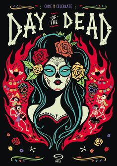 illustration for the Hell Pizza Day Of The Dead poster in collaboration with Inject Design Day Of Dead, Day Of The Dead Skull, Day Of The Dead Drawing, Day Of The Dead Artwork, Illustrations, Illustration Art, Skull Tatto, Los Muertos Tattoo, Art Kawaii