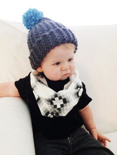 Baby Child Toddler Infinity Scarf // Organic Cotton Kids Circle Cowl // Hipster Baby Black and White Scarf on Etsy, $20.00