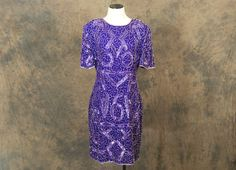Purple Beaded Dress - 80s Cocktail Dress - 1980s Abstract Geometric Sequin Dress Sz M