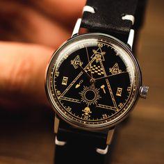 Men's ultra rare vintage soviet wrist watch Poljot - Masonic with leather nato strap Vintage Watches For Men, Vintage Men, Masonic Watches, Nato Strap, Mechanical Watch, Watch Case, Stainless Steel Watch, Watch Bands, Etsy