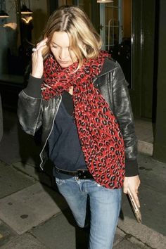 11 Trends Kate Moss Made You Want So Bad   The Leopard-Print Scarf Ever the rock goddess, Kate's made us covet plenty of leopard-print items in her time, like her swing coat and ankle boots. This scarf was the most knocked-off of the bunch and thus the most easily replicable. This writer bought not one, but two red-leopard scarves at Forever 21 and stitched them together, so they'd be as big as Kate's.
