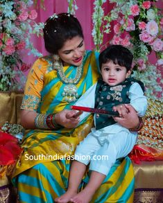 Telugu celebrity duo Viranica Manchu and Vishnu Manchu are expecting their fourth baby. The auspicious seemantham function took place in Hyderabad and Viranica is seen glowing in her traditional look. Mom Daughter Matching Dresses, Mom And Son Outfits, Baby Boy Outfits, Baby Boy Dress, Baby Girl Party Dresses, Dresses Kids Girl, Kids Indian Wear, Kids Ethnic Wear, Kids Dress Collection
