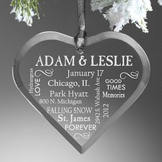 Beautiful way to remember your wedding or the past year as a couple as an anniversary gift! It's the Our Life Together© Couple's Ornament - you can customize it with your names and up to 9 lines of anything you'd like (details from your wedding or if it's for your anniversary add important moments from the past year, inside jokes, vacation spots, etc.)!