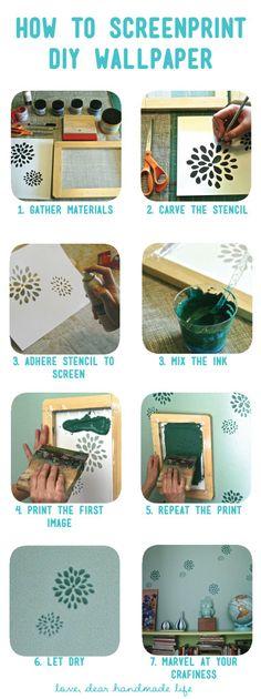 how to make diy screenprinted stencil wall paper - Dear Handmade Life