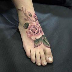 Pretty Pink Rose Foot Tattoo Idea