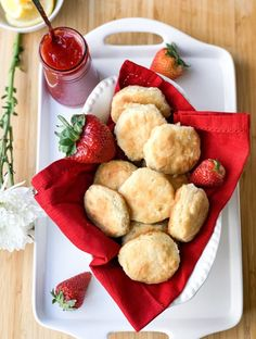 Sweet Biscuits with Strawberry Jam - Creole Contessa Fancy Biscuit, Cajun Lasagna, Buffalo Shrimp, Cajun Salmon, Shrimp Creole, Shrimp Cakes, Fried Shrimp, Fried Fish, Strawberry Jam