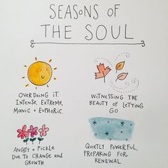 """Mari Andrew illustration - """"Seasons of the Soul"""" Cool Words, Wise Words, Wise Sayings, Mari Andrew, Cute Easy Drawings, Happiness, Happy Thoughts, Beautiful Words, Beautiful Smile"""