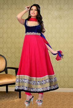 USD 87.47 Blue and Pink Kasab Work Anarkali Salwar Suit  34100