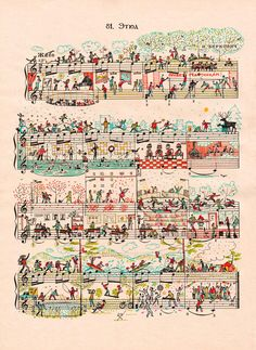 City life and vibrant colours drawn onto sheet music