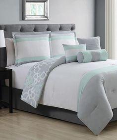 Light Gray & Mint Gina Six-Piece Comforter Set