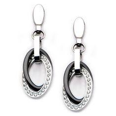 Cubic Zirconia & Stainless Steel Overlap Oval Drop Earrings by INOX Jewelry Stainless Steel Jewelry, 316l Stainless Steel, Metal Jewelry, Unique Jewelry, Alternative Metal, Women's Earrings, Dangles, Jewelry Design, Rose Gold