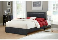Amber Queen Bed - Charcoal. Love this bed, goes great with our brown mid century modern dressers.