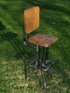 Industrial Bar Stool with Back by SawdustIndustries on Etsy, $175.00