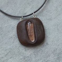 Wood stone pendant necklace  Quartz crystal inlaid in eucalyptus wood by NaturesArtMelbourne,