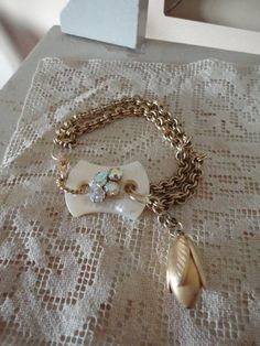 Romantic upcycled bracelet with lovely mother by salvagegardener, $40.00