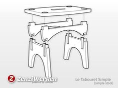 Le Tabouret Simple (simple stool) cnc by ZenziWerken - Thingiverse Desktop Cnc, Plywood Furniture, Art Furniture, Plywood Floors, Furniture Design, Woodworking Table Plans, Cnc Plans, Woodworking Basics, Woodworking Projects