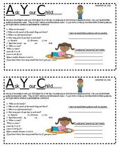 Ask Your Child - mini newsletter - This is a newsletter that I send home on Fridays. $