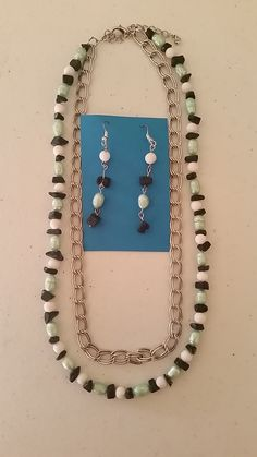 White and navy blue beads and mint pearls necklace with matching earrings