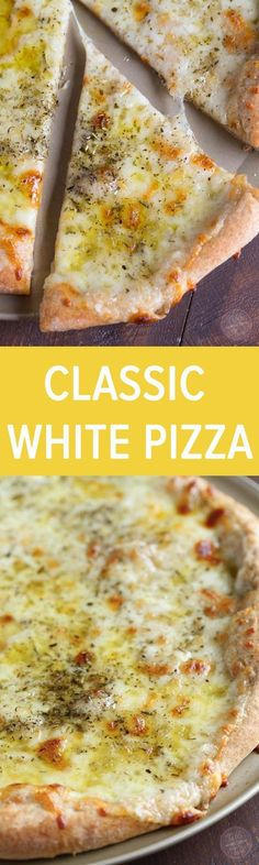 classic white pizza with a whole-wheat blend crust is the perfect cheesy, oily, and garlic-y pizza for any day of the week!A classic white pizza with a whole-wheat blend crust is the perfect cheesy, oily, and garlic-y pizza for any day of the week! Yummy Recipes, Vegetarian Recipes, Cooking Recipes, Recipies, Cooking Ideas, Healthy Pizza Recipes, Paleo Food, Simple Recipes, Flatbread Pizza