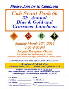 Banquet ideas cub scouts and banquet on pinterest for Cub scout blue and gold program template