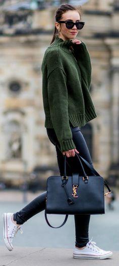 White converse + perfect match + knitwear look + stylish oversized bottle green sweater + Barbora Ondrackova + converse + leather leggings Jumper: Asos, Leggings: Balenciaga, Sneakers: Converse.