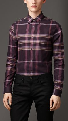 Burberry London Slim Fit Check Cotton Shirt