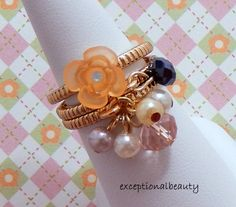 Lot of 3 Size 8 Gold Rings with Pearls & Faceted Rondelle Glass Beads #FingerRingswithBeadDangles