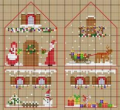 """A 3-d Christmas house pattern -- click onto """"clic"""" for the enlarged pattern. It helps if you read French, but I just kept clicking until I came across the tutorial to put it together. She also has many other 3-d houses that are wonderful."""
