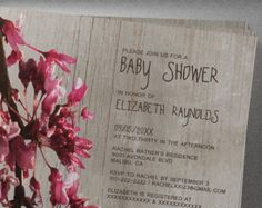 Rustic Cherry Blossom Baby Shower Invitation