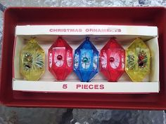 Vtg Jewelbrite Christmas Diorama Ornaments Flowers And Bells Themed Boxed Set